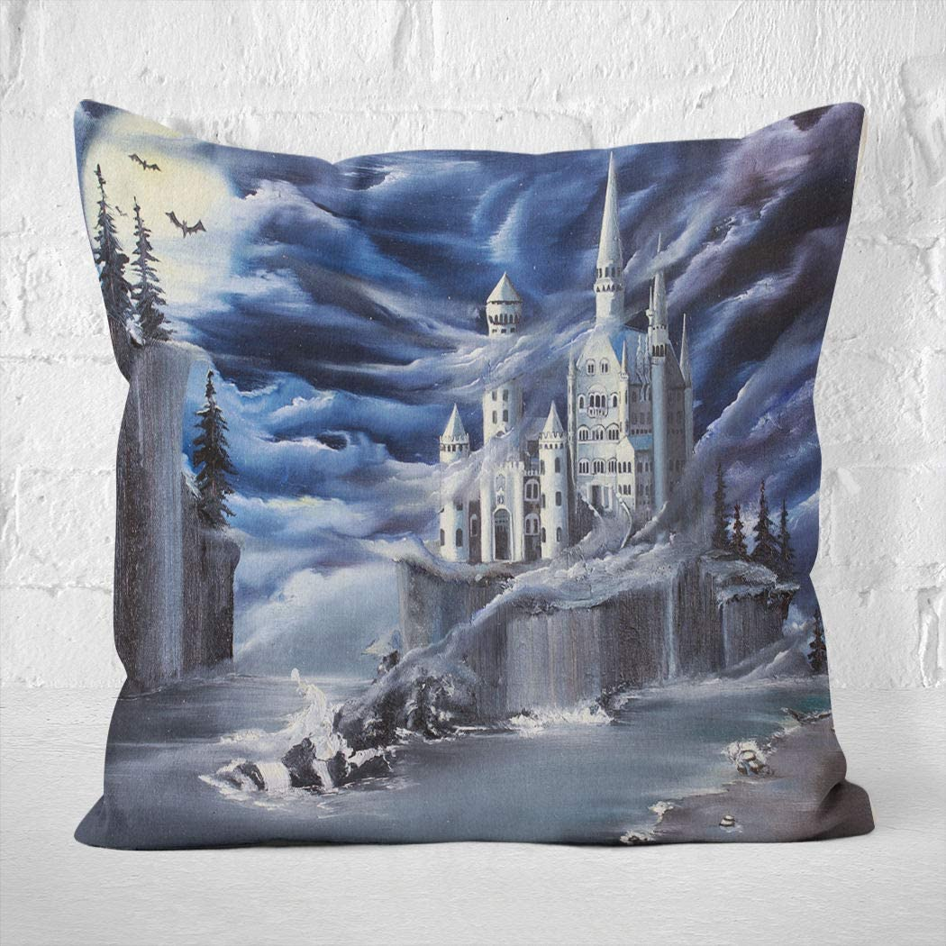 Benxii Throw Pillow Cover Original Oil Painting Contemporary Style Made Canvas Palette Knife White Castle Home Durable Soft Decorative Polyester Pillowcase Square Cushion Couch for Sofa 18x18 Inches