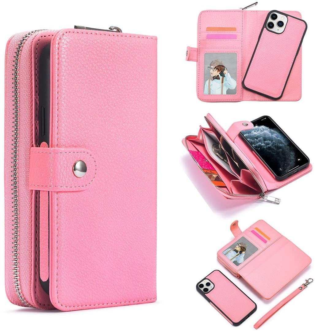Phone PC Case Case For iPhone 12Pro Max Leather Wallet Zipper Wallet,Removable Magnetic Matte TPU Phone Case,with ID & Credit Card Pocket and Detachable Wrist Strap Smartphone Cover ( Color : Pink )