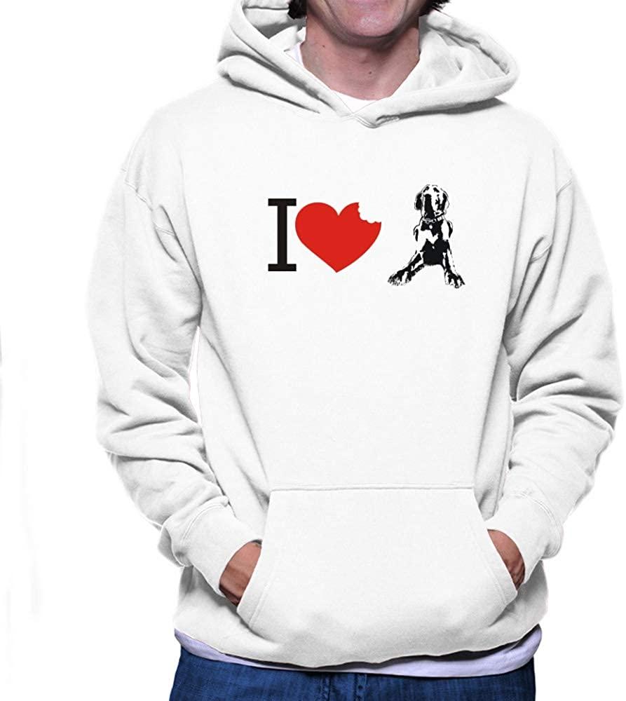 Teeburon I Love Great Danes Bited Heart Hoodie