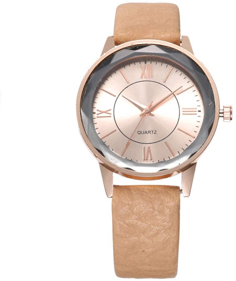 DRAGONHOO Women Time Fine Watch Strap Leather Analog Simple Dial Wrist Watch Temperament Minimalist (F)