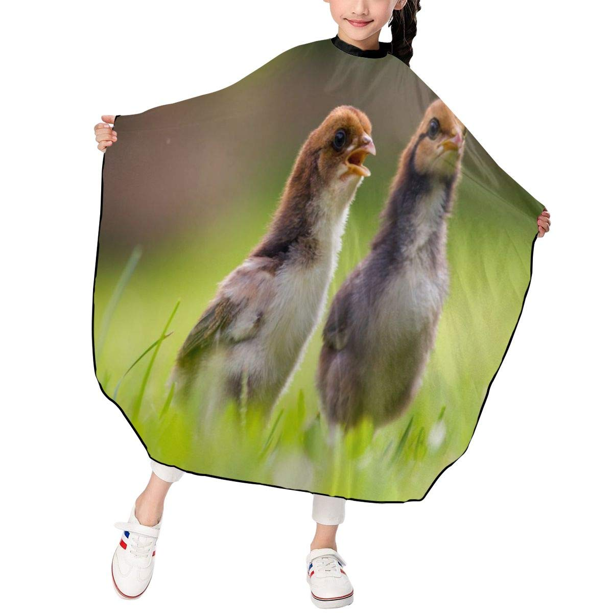 Kids Haircut Apron, Professional Salon Polyester Cape, Beautiful Brown Chicks Barber Hairdressing Cape, Waterproof Adjustable Snap for Hair Cutting Hairstylists for Boys Girls