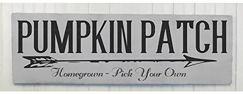 43LenaJon Pumpkin Patch Fall Farmhouse Style Indoor Outdoor Wooden Sign, Neutral Thanksgiving Decorations, Signmple Chic Style Wall Hanging, Whit