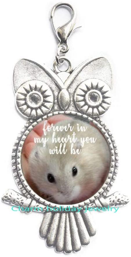 Charm holiday jewelry Pet in Heaven Lobster Clasp,Hamster Loss Gift,Loss of Pet Gifts,Pet Grieve Owl Zipper Pull,Pet Photo Memories,Custom Made Pet Memorial Gift-#21