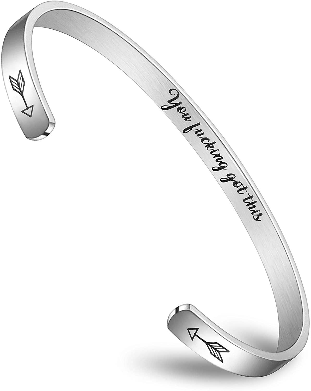 BFJLIFE Inspirational Bracelet Personalized Motivational Mantra Engraved 316L Surgical Stainless Steel Bracelet
