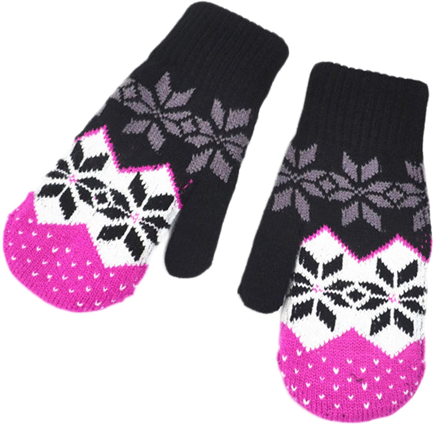 Soluo Thick Double-Layer Autumn Winter Knitted Gloves Women's Snowflake Print Mittens Unisex Plus Velvet Warm Gloves