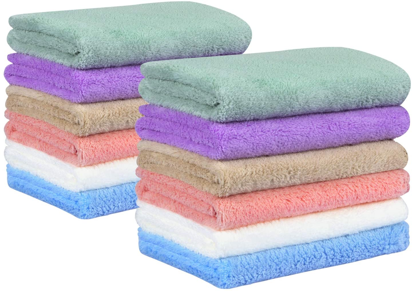 Yoofoss Baby Washcloths 12x12 Inches Pack of 12 Ultra Soft Absorbent Wash Towel - Newborn Bath Face Towel - Reusable Newborn Baby Wipes