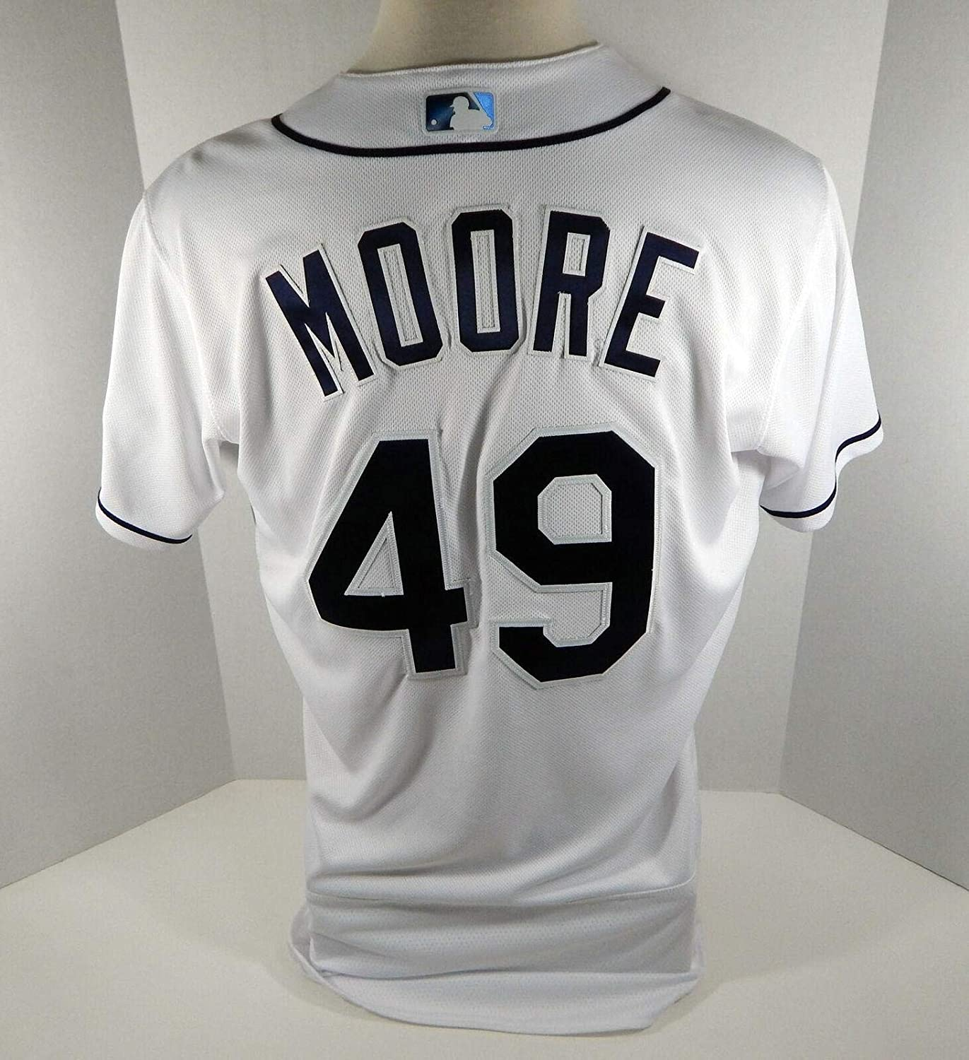 Tampa Bay Rays Andrew Moore #49 Game Issued White Jersey - Game Used MLB Jerseys
