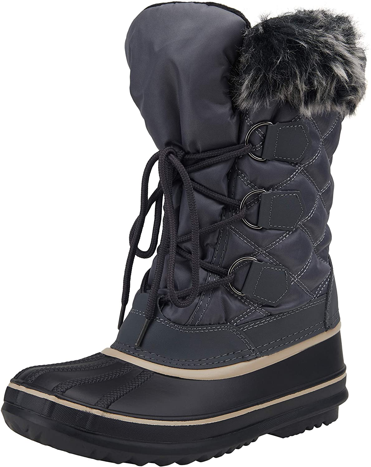 VEPOSE Womens Snow Boots Waterproof Mid Calf Lace Up Warm Winter Booties