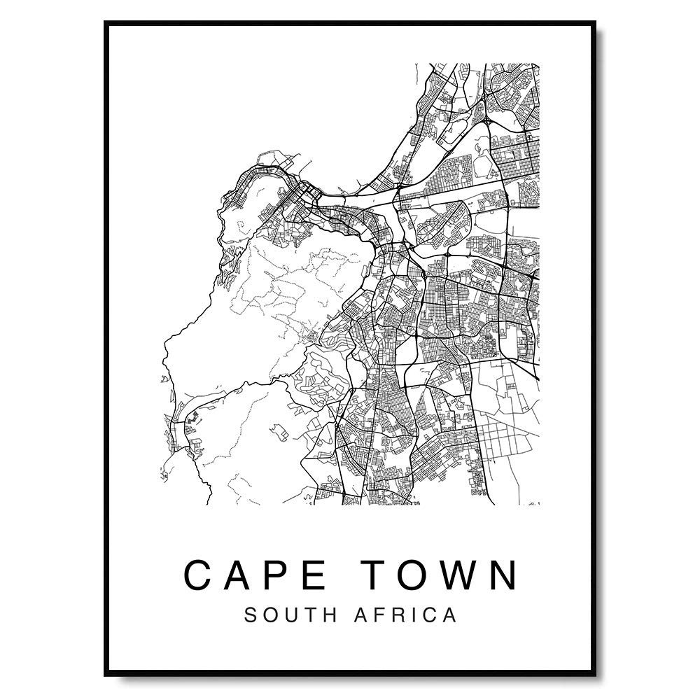 Cape Town Map Wall Art Print Poster South Africa City Map Street 8x10 Black & White