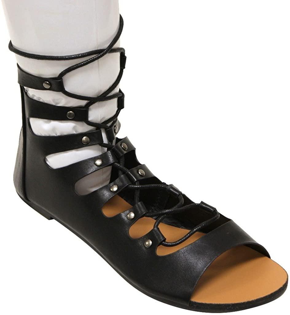 Forever Vibrant-12 Women's Open Toe Bondage Lace up Zip Closure Gilly tie wrap Ankle Sandals Black 6