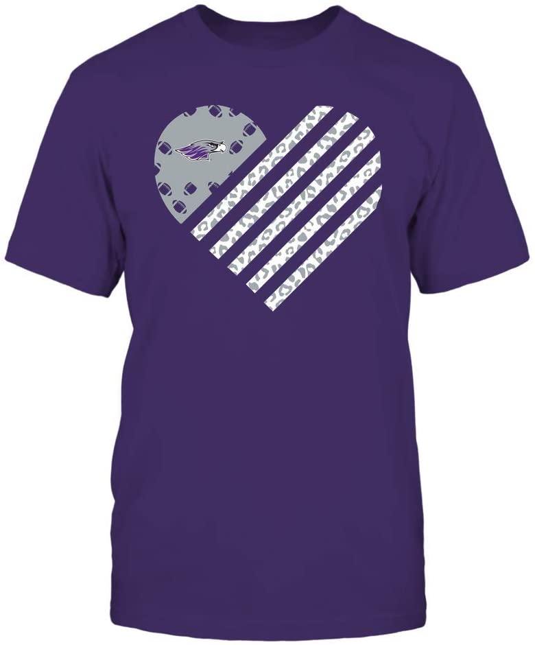 FanPrint Wisconsin-Whitewater Warhawks T-Shirt - Football - Leopard Flag - Heart - Premium Men's Tee/Purple / 2XL