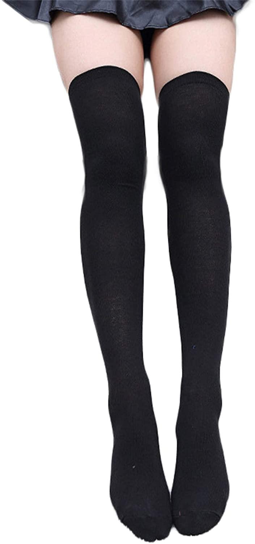 Andongnywell Womens Thigh High Socks Cotton Striped Over the Knee Socks Long Knee High Socks for Women Boot Socks