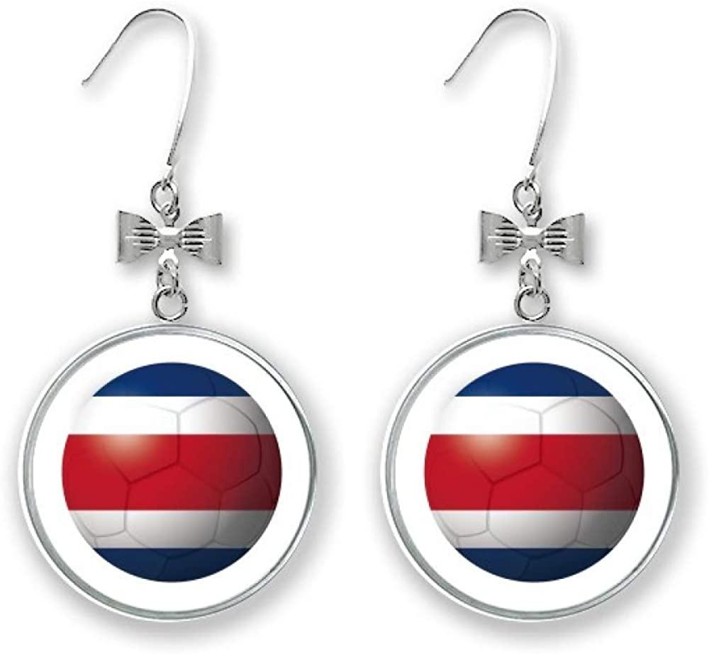 Costa Rica National Flag Soccer Football Bow Earrings Drop Stud Pierced Hook