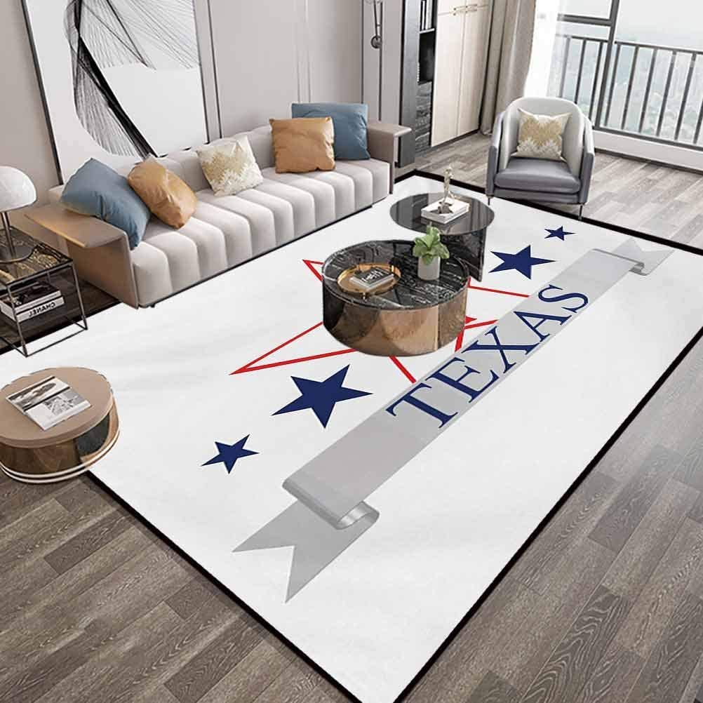 Texas Star Area Carpets for Bedroom 6X9,San Antonio Dallas Houston Austin Map with Stars Pattern USA,Indoor Comfortable Modern Rugs Carpet with Lock-Edge & Non-Slip Base,Navy Blue Vermilion Pale Grey