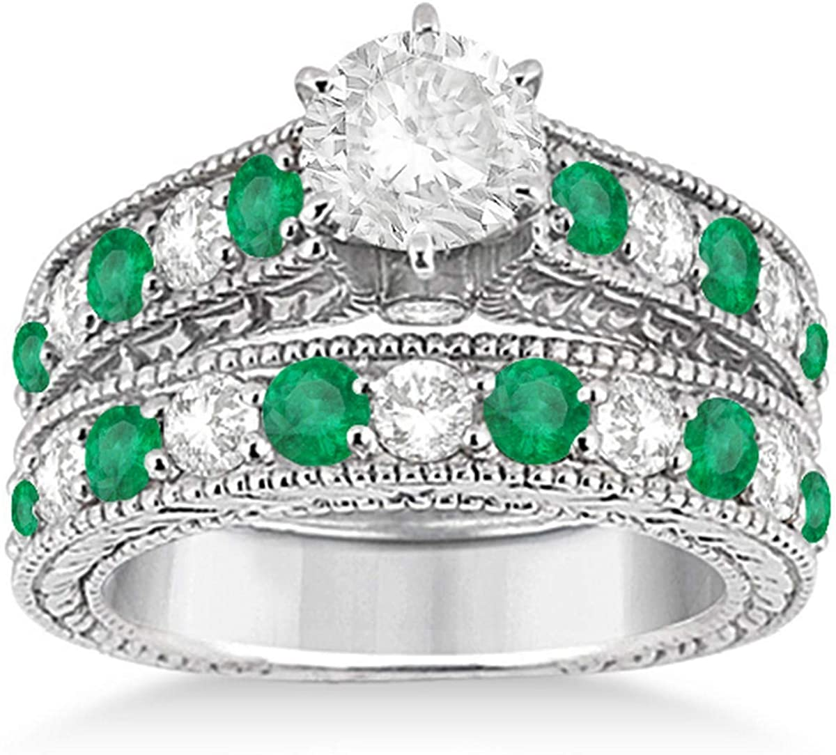 Antique Round Cut Diamond and Emerald Matching Bridal Wedding Ring Set in Solid Platinum (2.76ct)