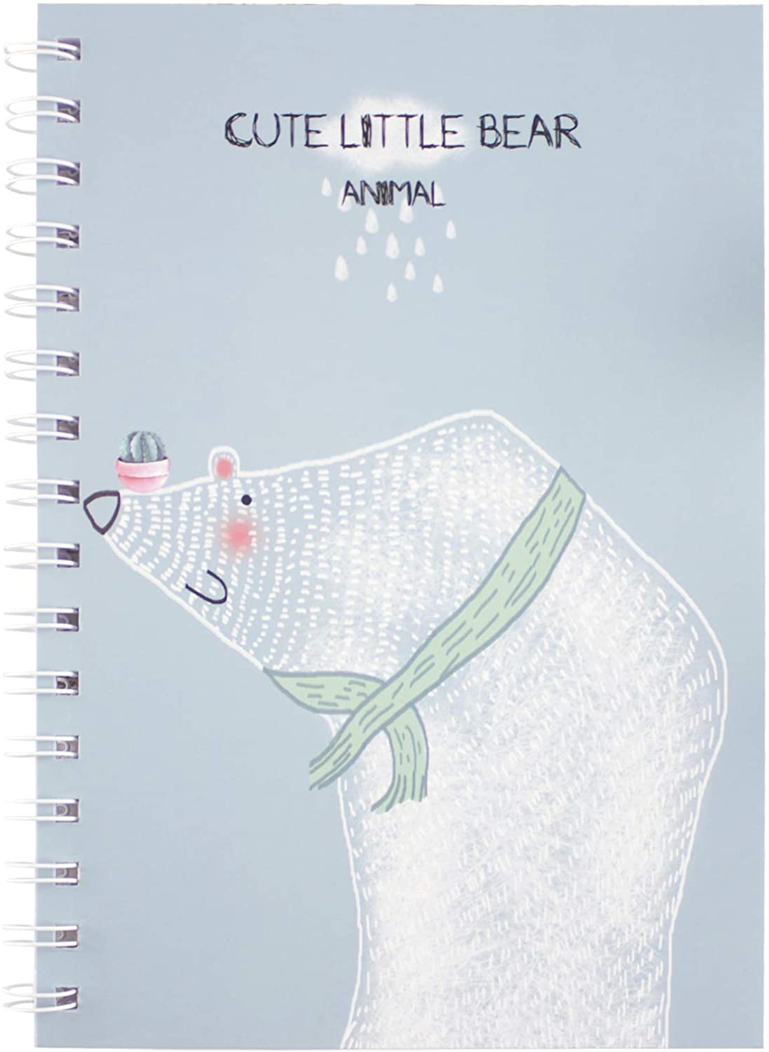 A5 Cartoon Bear Printed Cover Writing Journal, Pro-Environmental Spiral Notebook, Perfect Size Daily Notepad, White Wire-O Spiral, 120 Pages (60 Sheets)