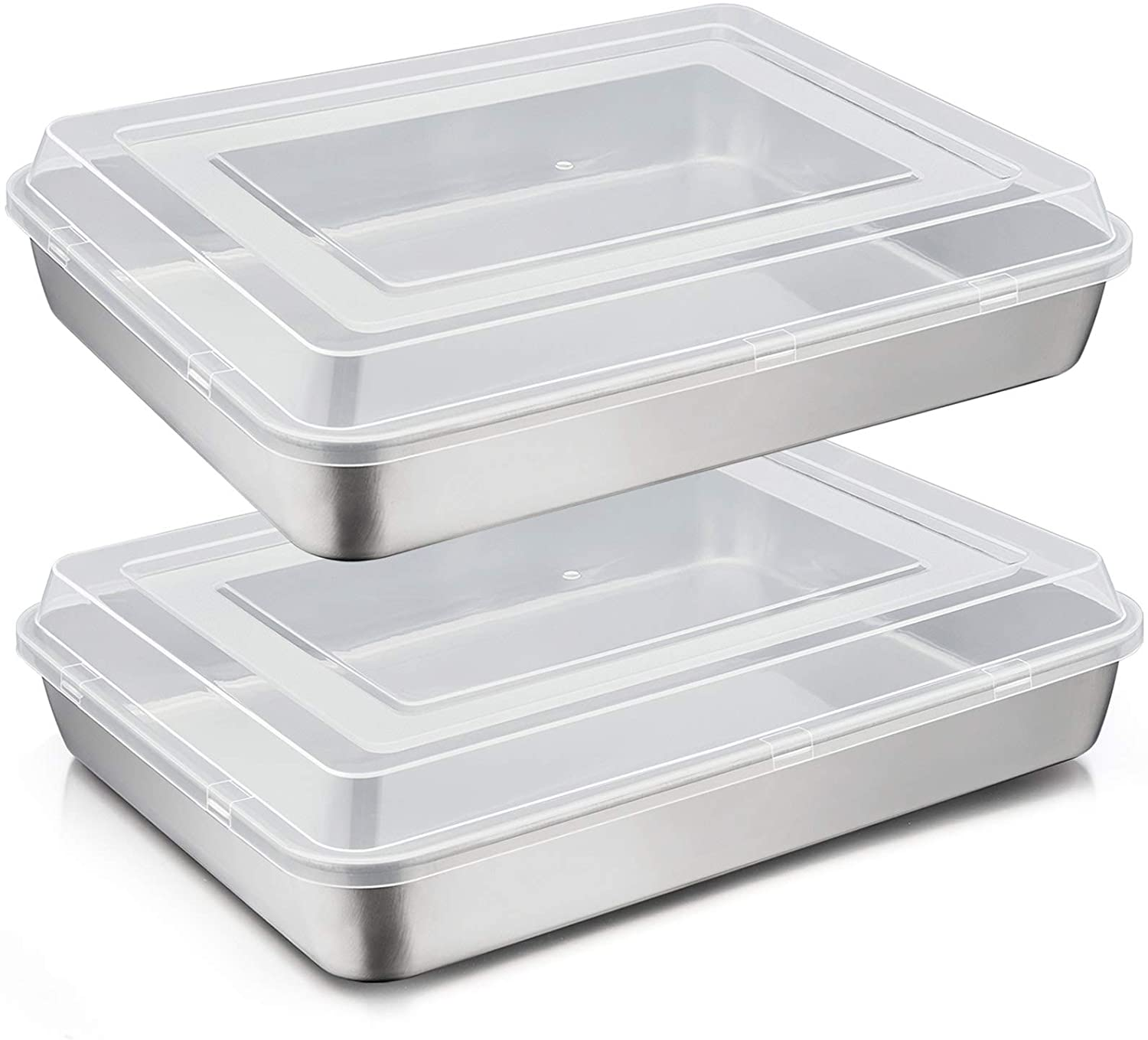 TeamFar Lasagna Pan, 12⅖'' x 9¾'' x 2'' Stainless Steel Rectangular Casserole Cake Brownie Baking Pan with Lid, Non-Toxic & Heavy Duty, Brush Surface & Deep Side, Dishwasher Safe & Easy Clean, 4 PCS