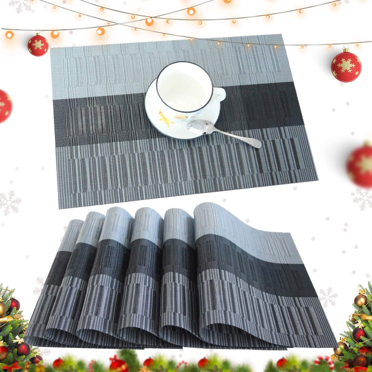 profurni Placemats for Dining Table Heat Resistant Kitchen Table Mats Set of 6 Washable PVC Place Mats Stain Resistant Non-Slip Placemat for Hotel Office,Black Grey