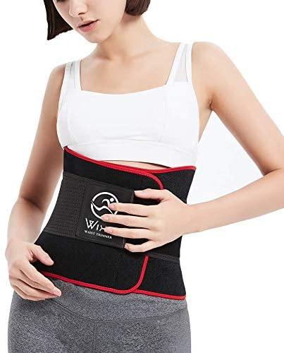 WIXe Waist Trimmer Neoprene Sports Girdle Waist Trainer Belt for Women Men Corset Cincher Weight Loss Slimming Body Shaper Red, Medium