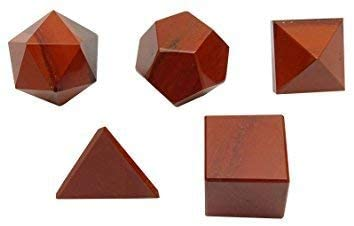 Crocon Red Jasper 5 Pcs Platonic Solid Sacred Stones Geometric Set for Reiki Healing Chakra Stone Balancing Energy Generator Crystal Cleansing Spiritual Money Good Luck Decor Size: 15-20 mm
