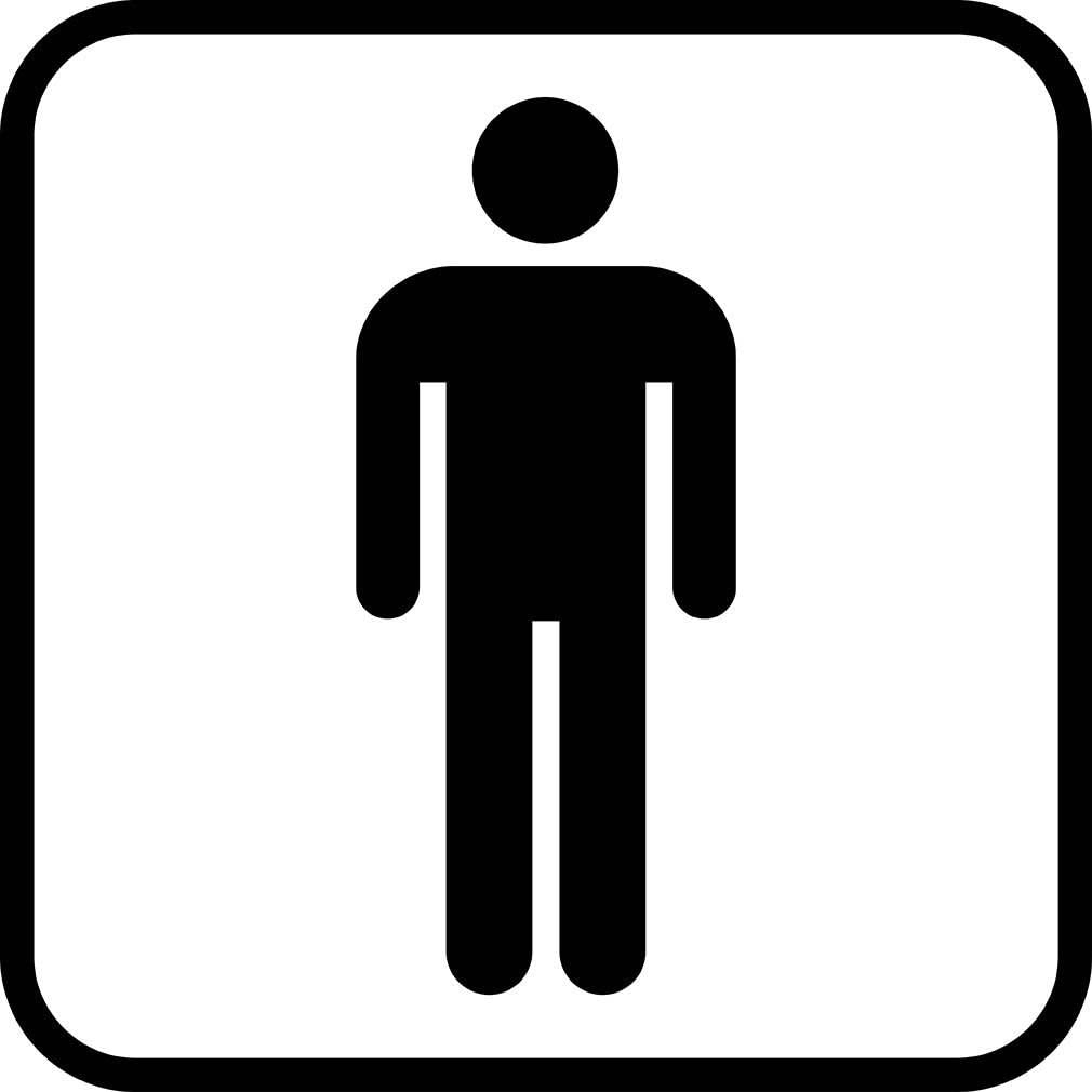 Men's Restroom Public Service Hospitalit​y Hotels Motels LABEL DECAL STICKER Sticks to Any Surface