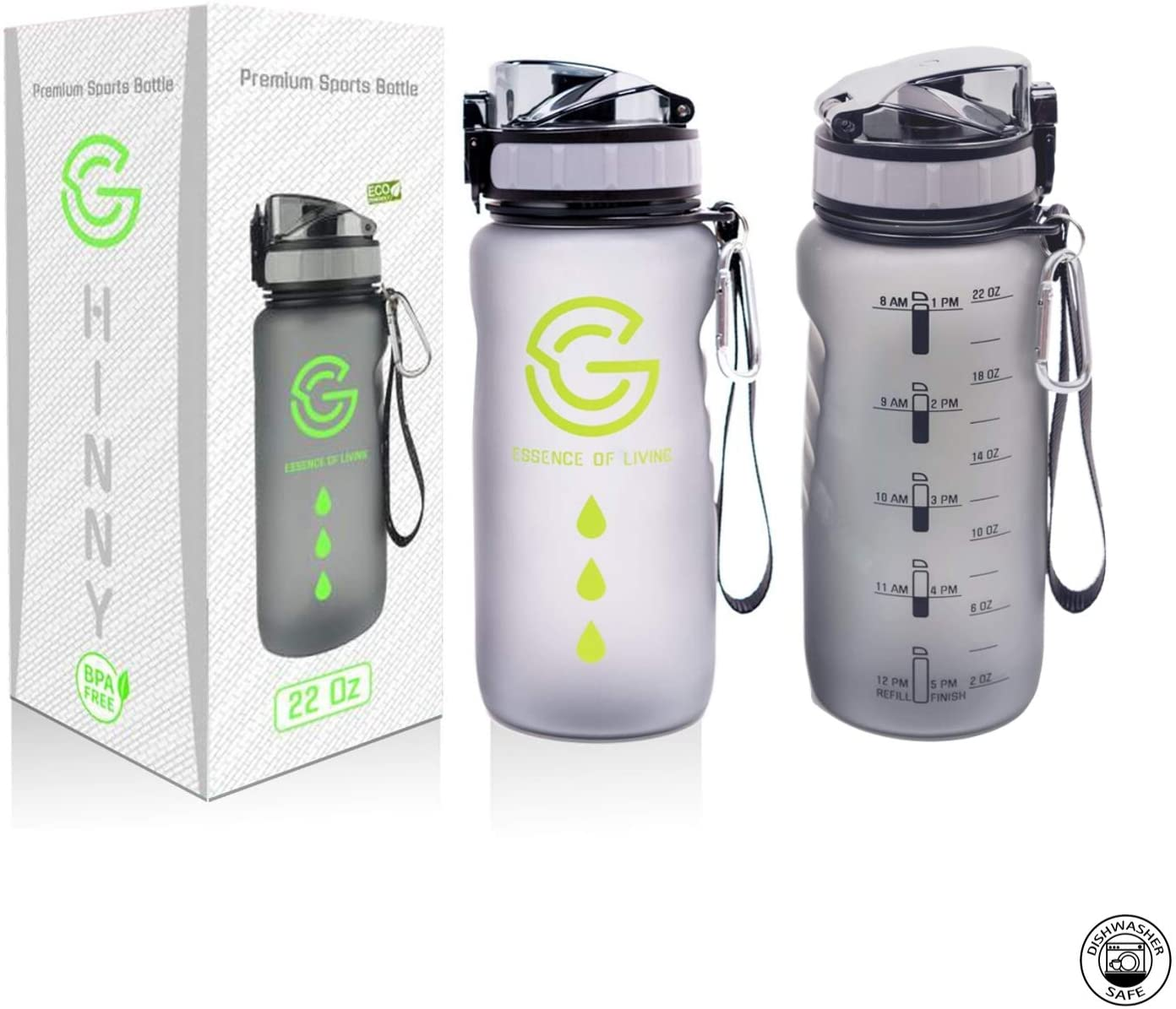 GHINNY Water Bottle Time Marker , 22oz Motivational Sports Hourly Waterbottle, Carabiner 1 Liter BPA Free, Non-Toxin, Leak-Proof, Fast Flow for Health and Fitness