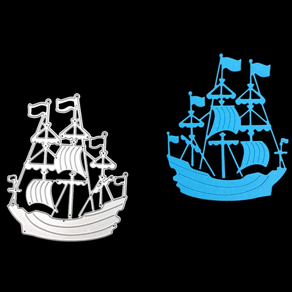 3.9 by 3.2 Inches Sailing Ship Metal Cutting Dies for Card Making Scrapbooking Christmas Craft Dies (JA101004)