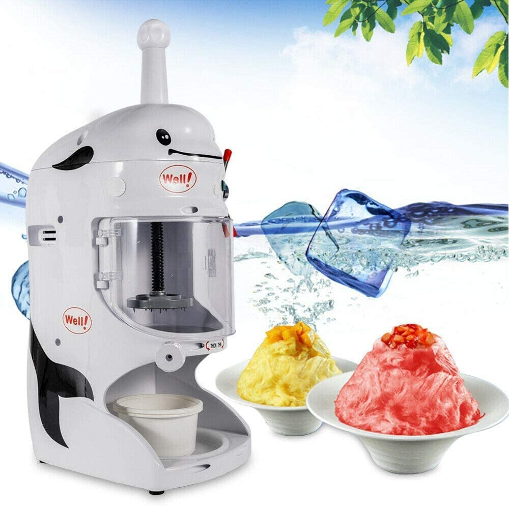 Electric Ice Shaver Machine Snow Cone Maker Machine Ice Crusher Shaved Ice Machine for Bar Coffee Hotel Milk Tea Shop Coffee Shop Commercial 350W 110V