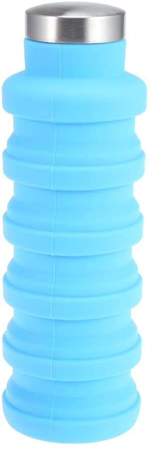 BISOZER Collapsible Water Bottle, Reuseable BPA Free Silicone Foldable Water Bottles for Travel Gym Camping Hiking