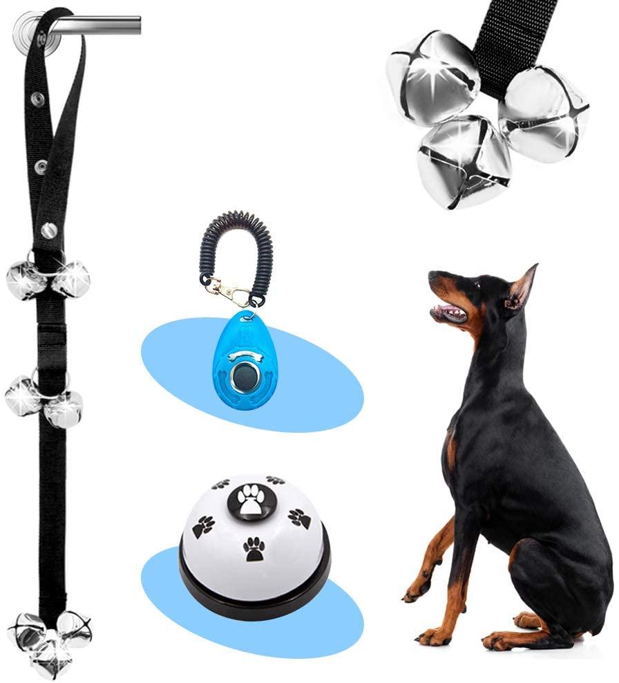 Supet Dog Doorbells Premium Dog Potty Training Bells and Dog Training Clicker Adjustable Dog Bells for Dog Door Knob, Puppy Training