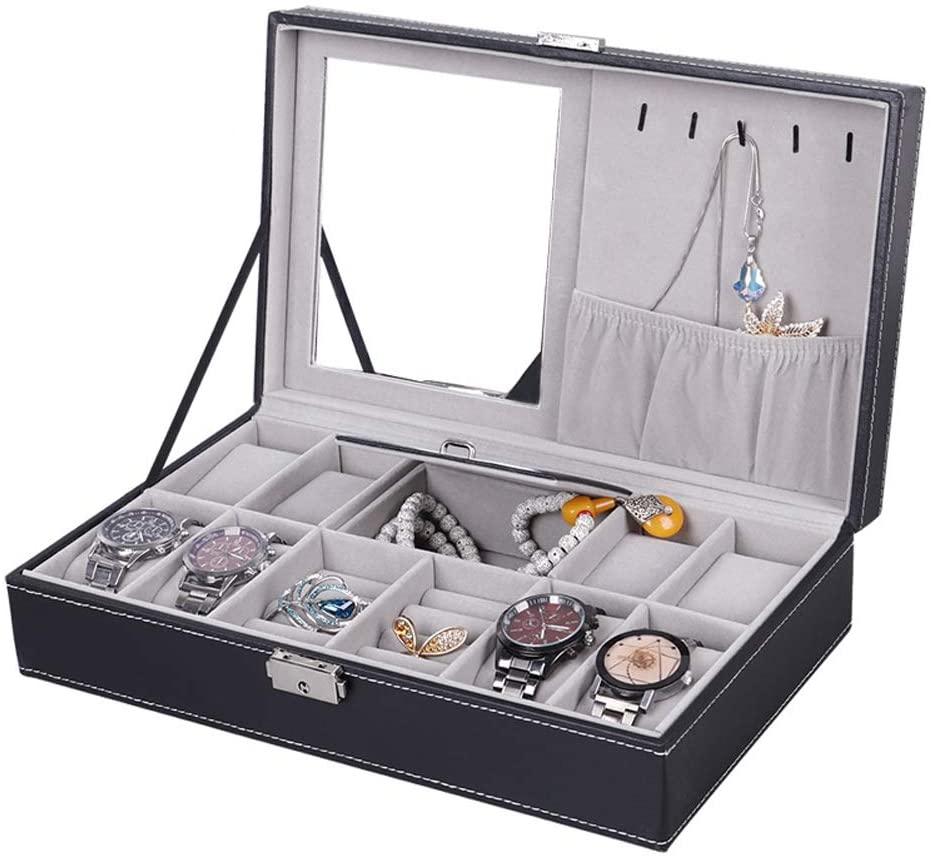 TXT&BAZ Jewelry Box,8-Slot Watch Organizer,Storage Case with Mirror,PU Leather Black