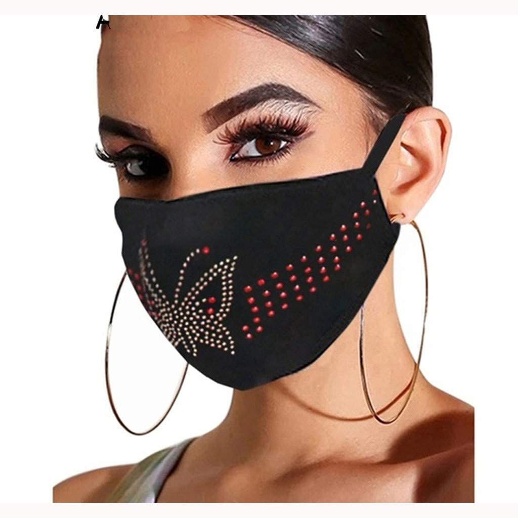 Rhinestone_Fashionable_Face_Mask Anti-Dust Comfy_Safety Reusable Washable Windproof For Men And Women Indoors and Cycling Outdoors