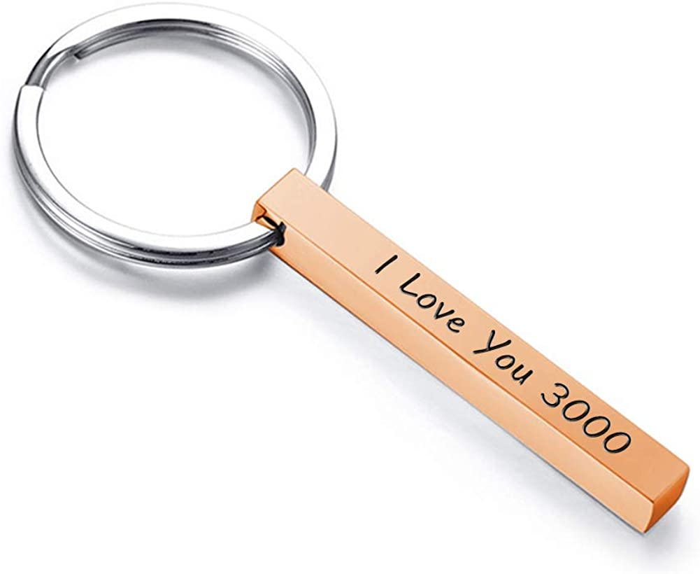 Personalized Custom Message Names Keychain Unisex Stainless Steel Vertical Cuboid Bar Keychain
