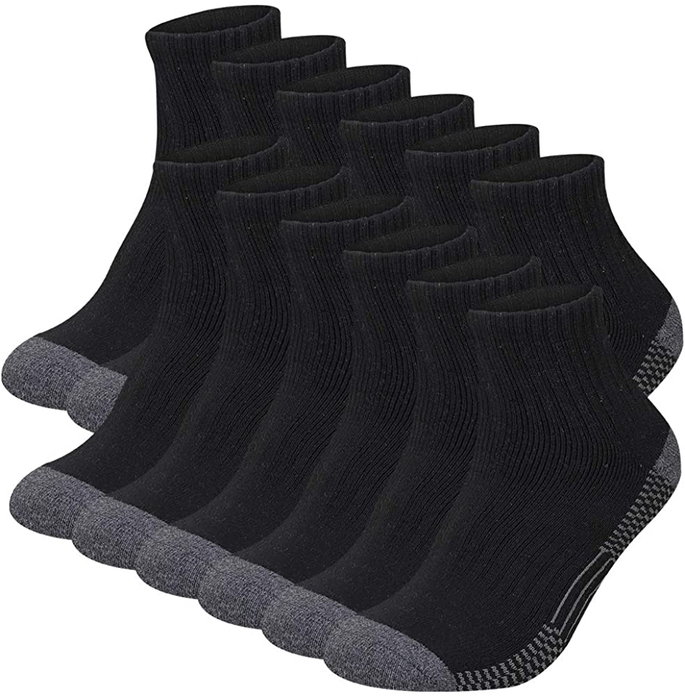 COOVAN Mens Athletic Ankle Socks 12 Pack Men Cotton Thick Full Cushion Comfort Casual Sock Size 10-13