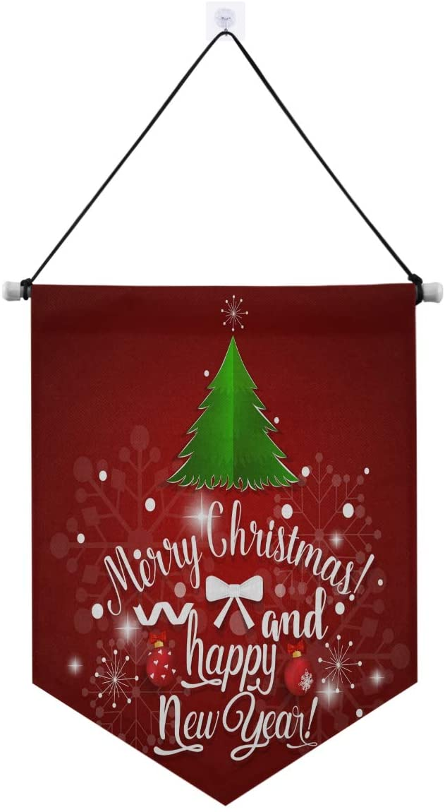 STAYTOP Door Banner Hanging, Merry Christmas And Happy New Year With Tree Snowflake Bells Holiday Party Welcome Porch Sign banner, Christmas Hanging Door Boutique Accessories Gate Flag Decoration Outd