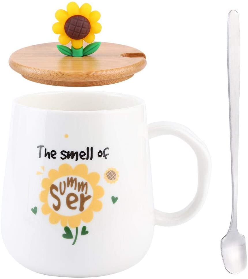 Lovely Ceramic Cup with Spoon and Lid Coffee Water Milk Mug Ceramic Cup Coffee Cup Mug Tea Cup for for Drinkware Gift Office and Home Capacity 420ml(2#)