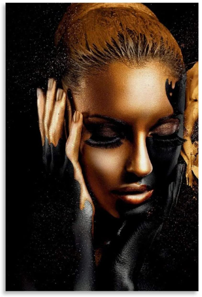 QAZWS Black and Gold African Woman Canvas Art Poster and Wall Art Picture Print Modern Family Bedroom Decor Posters 08x12inch(20x30cm)