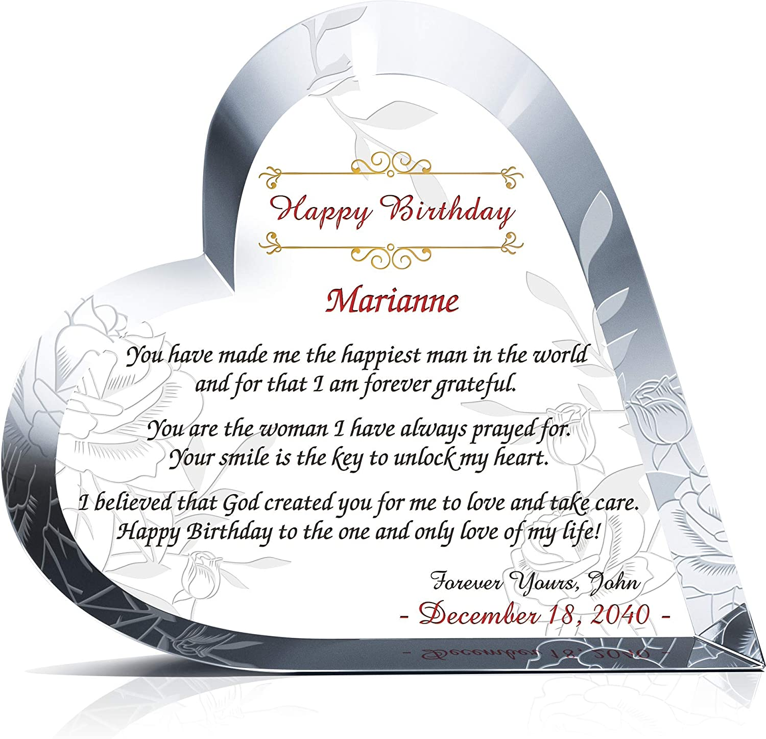 Personalized Crystal Heart Birthday Gift for Wife or Girlfriend, Customized with Wife or Girlfriend's Name and Date, Unique Gift for Her on Birthday, Anniversary, Mother's Day, Christmas (L - 7.5