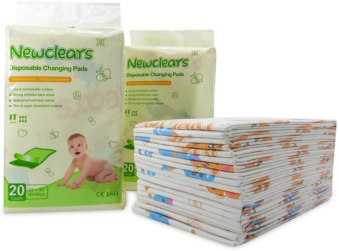 Newclears Baby Disposable Underpads Breathable Incontinence Diaper Changing Pads, 20 Count/Pack (23x36 - 2pack(40 Count))
