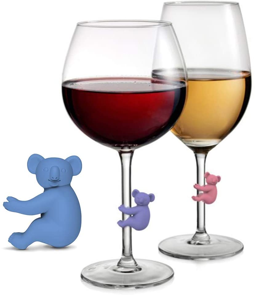6Pcs Koala Climbing Up Wine Glass Drink Markers, Wosoova Funny Silicone Cocktail Champagne Tags