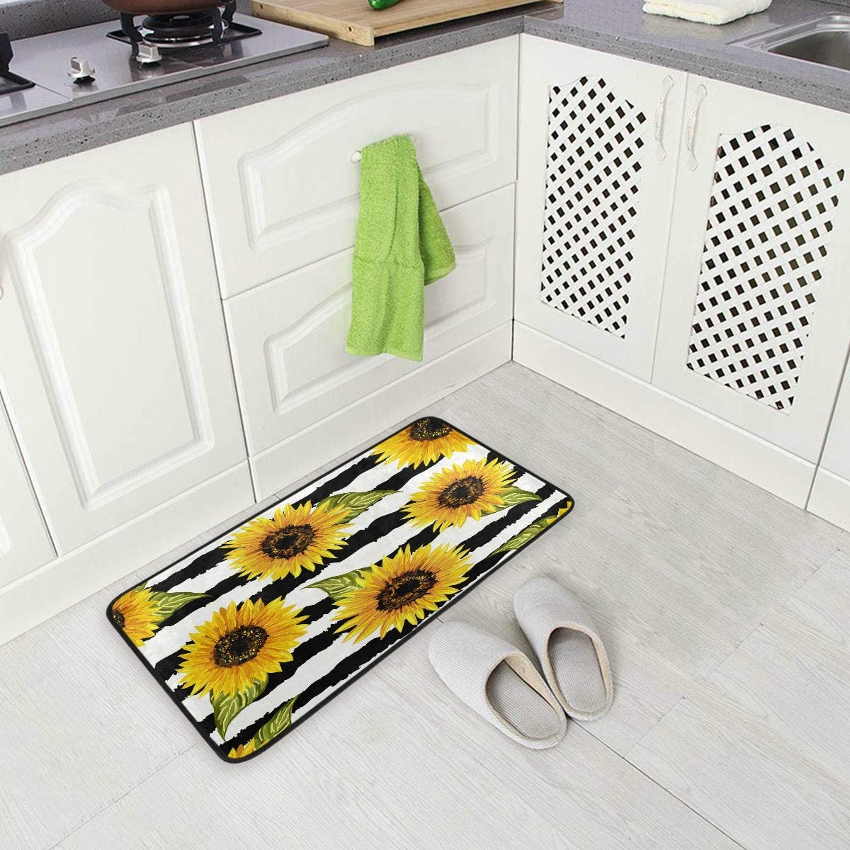 ALAZA Colored Sunflower Floral Blossom Non Slip Kitchen Floor Mat Kitchen Rug for Entryway Hallway Bathroom Living Room Bedroom 39 x 20 inches(1.7' x 3.3')
