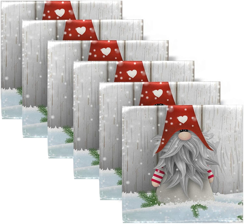 senya 20 Inch Cloth Napkins Set of 6, Christmas Gnome Square Premium Polyester Table Linen Napkin for Dinner Parties Christmas