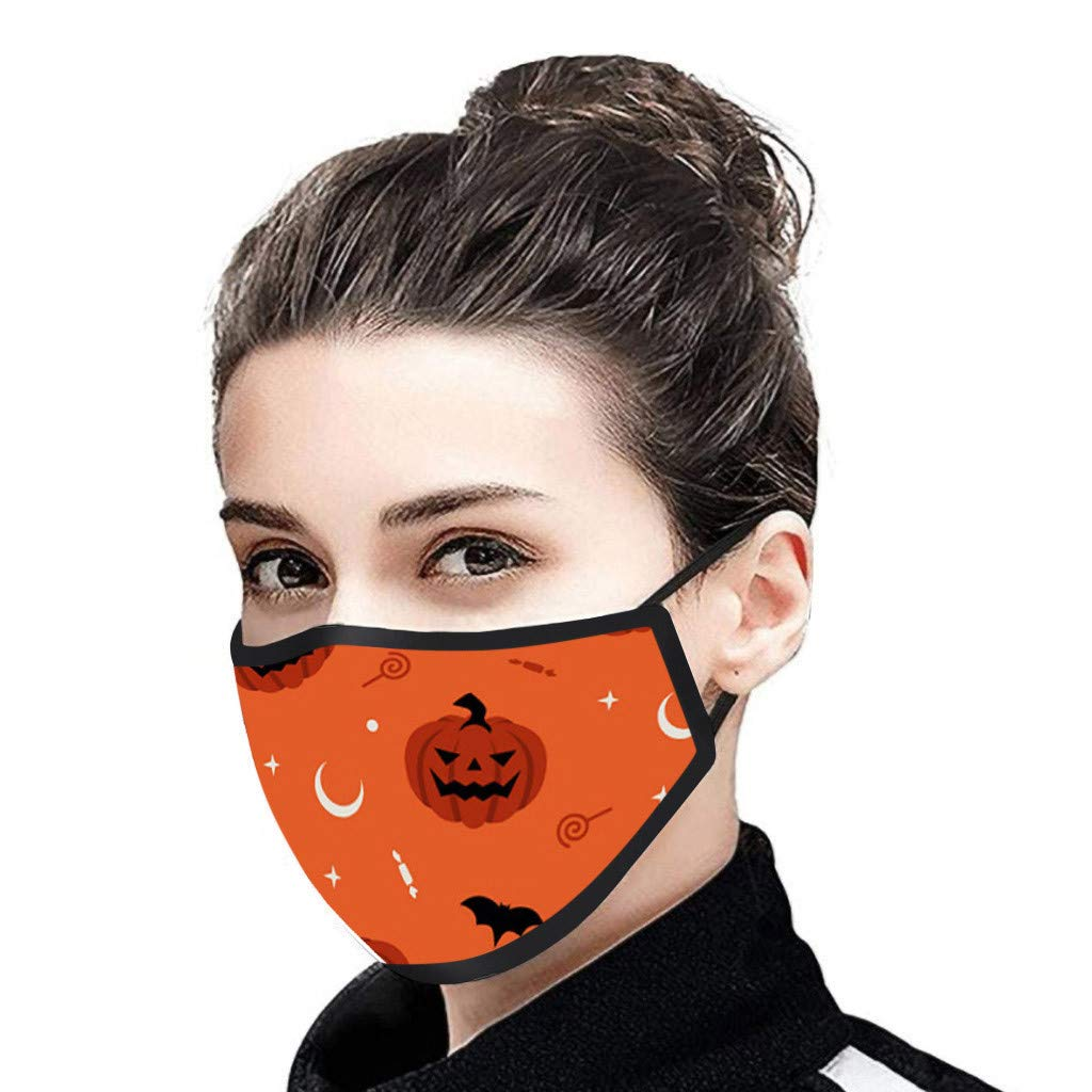 OMGYST Reusable Face Bandanas Face Protective for Women, Unisex Outdoor Washable Breathable Dustproof ṁɑѕḱ Face Guard Halloween Print Adjustable Ear Loop for Outdoor Festival Activity