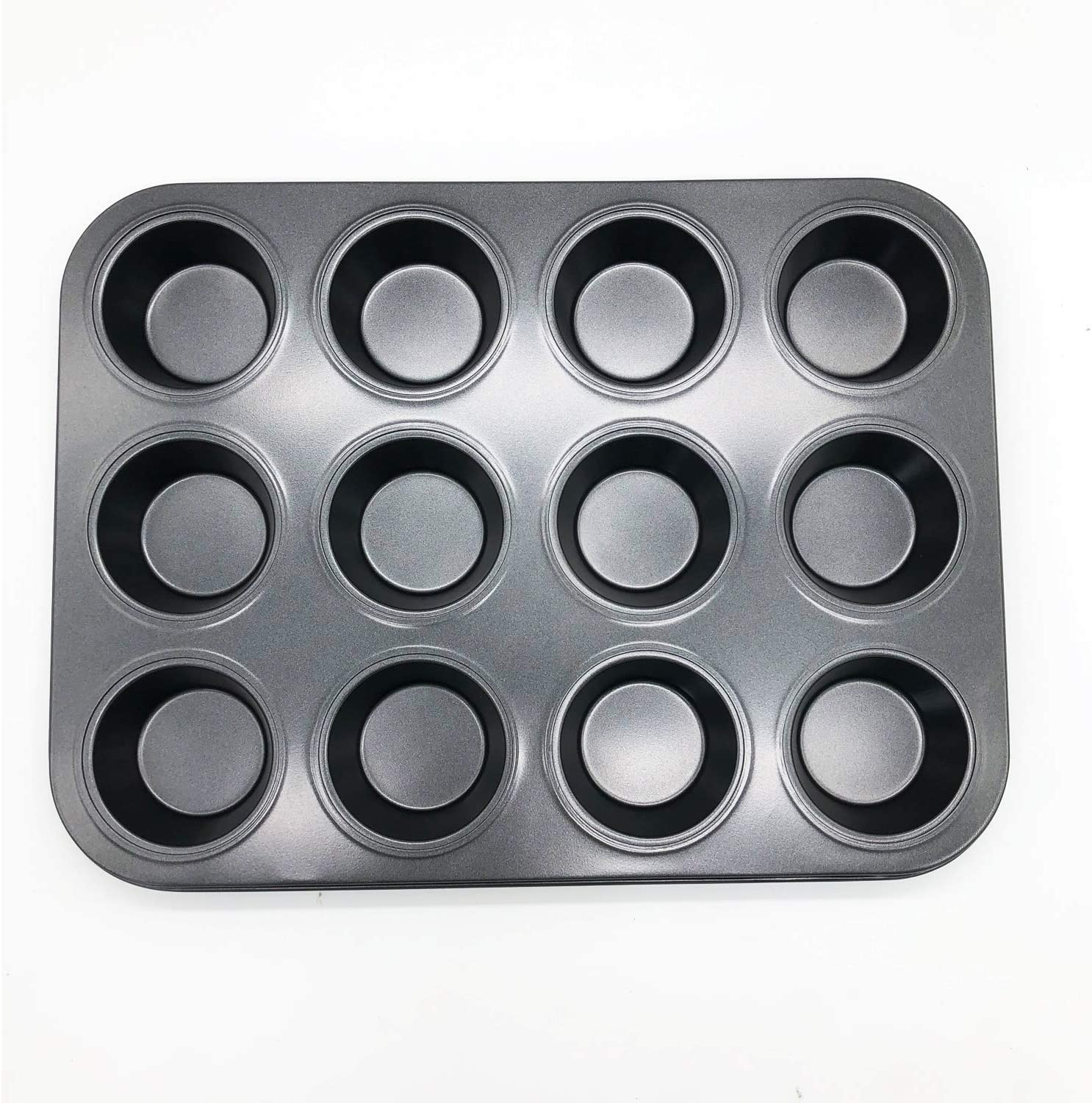 Waytiffer 12-Cups Non-stick Cake Mold Cake Pan Carbon Steel Baking Round Cake Mould Teflon Coating Dish Ovenware Muffin Standard Tray (1)