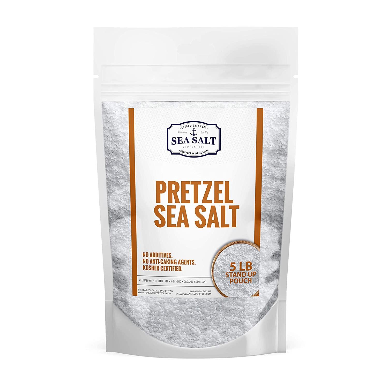 Pretzel Sea Salt - 5 LB BAG - Premium All Natural Coarse Food Grade Topping for Pretzels, Bagels & Breads - No Additives by Sea Salt Superstore