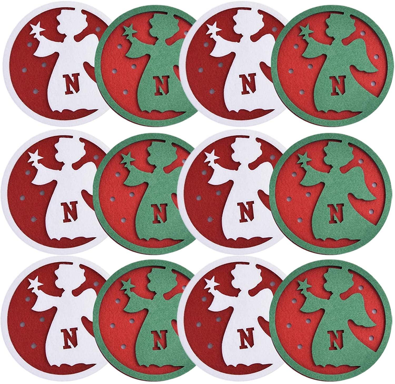 Christmas Felt Coasters for Drinks, Christmas Round Reusable Mug Coaster, Non Slip Heat Resistant Washable Non Stick Mats for Coffee Beer Mug Wine Glass Bottle Home and Bar Decor