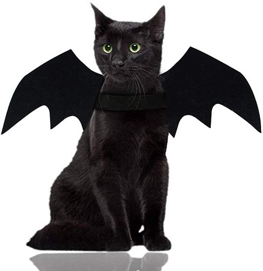 Malier Halloween Cat Costume for Cats Dogs Pet Bat Wings Cat Dog Bat Costume Wings (Medium)