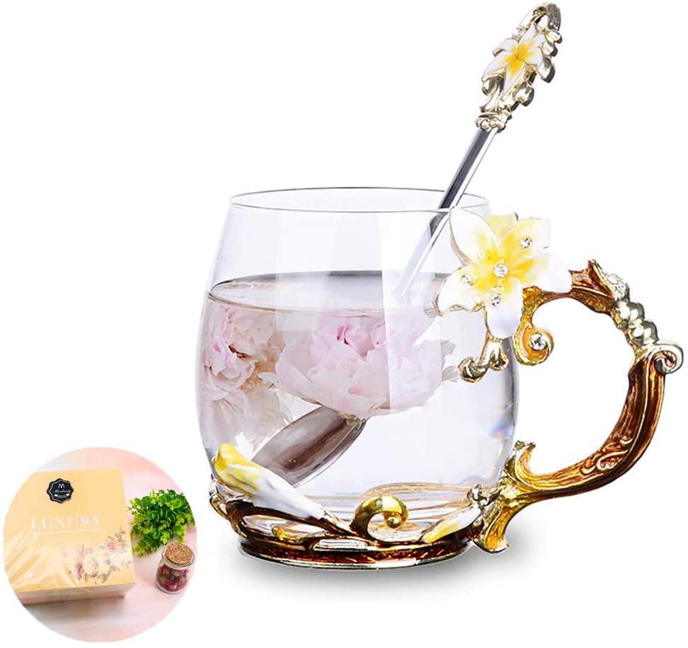 Tea Cup Coffee Mug Cups, Lily Flower Glass Tea Cup, Unique Personalized Birthday Present Ideas for Women Grandma Mom Teachers Hot Beverages 12OZ Orange