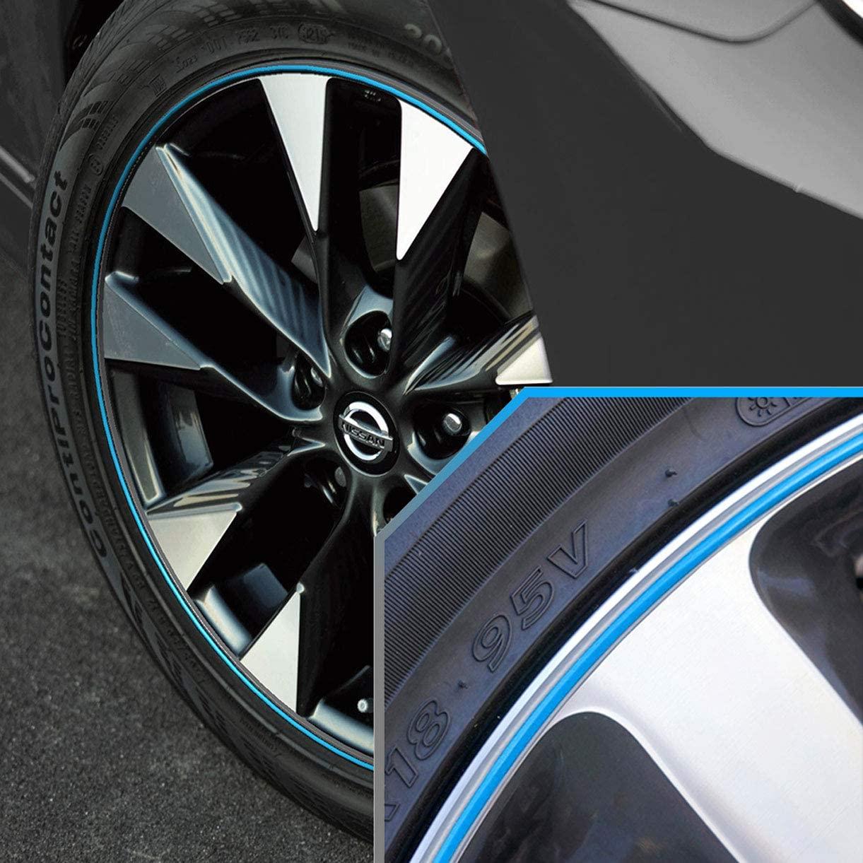 Upgrade Your Auto Wheel Bands Sky Blue/Silver Pinstripe Rim Edge Trim for Nissan Sentra (Full Kit)