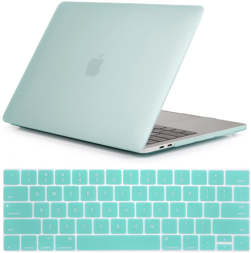 Se7enline MacBook Pro 15 inch Case Plastic Hard Shell Protective Carrying Case for MacBook Pro 15-inch with Touch Bar Model A1707/A1990 2016/2017/2018 with Keyboard Cover Skin,Aqua Green